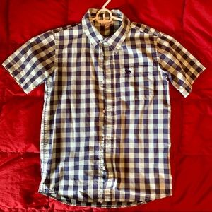 Boys light turquoise and navy check button down